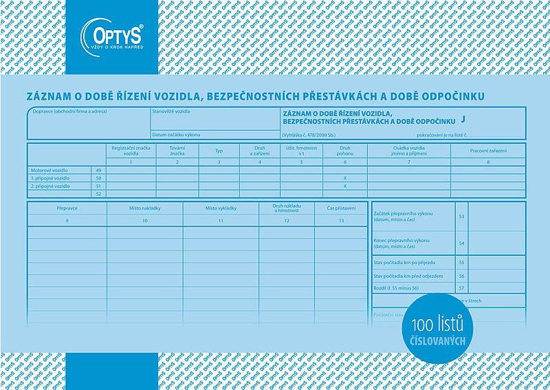 Papír tiskopisy - Záznam o době řízení vozidla a bezpeč. přestávkách A4, číslovaný, 100 listů