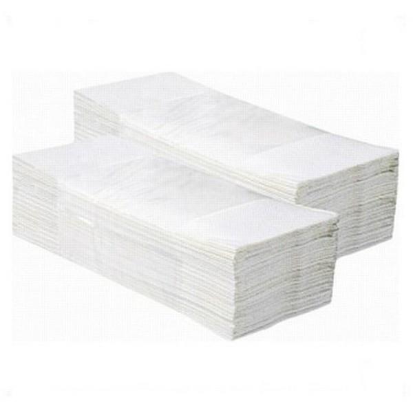 Obalový materiál drogerie - Papírové ručníky skládané Z-Z - 2 vrstvy, bílé recykl, 3000ks