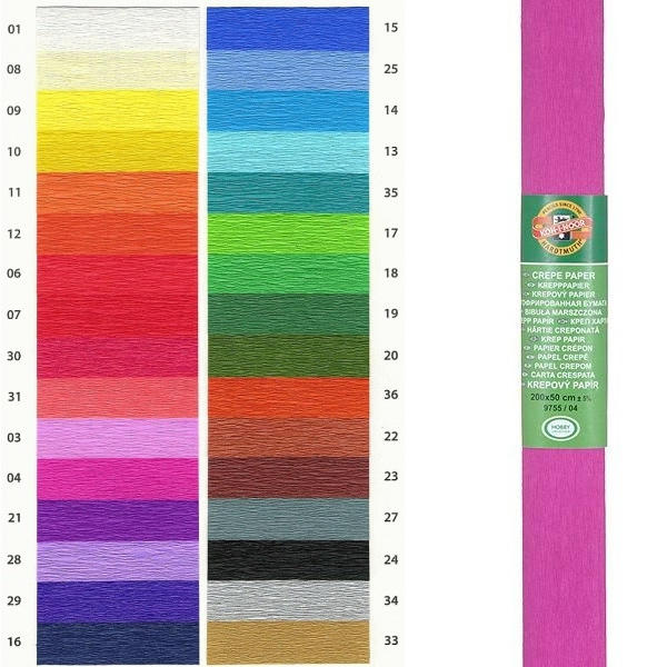 Papír tiskopisy - Krepový papír KOH-I-NOOR 9755 - 04, tmavě růžový, 10ks
