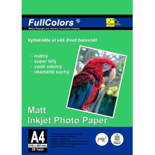 Papír tiskopisy - Fotopapír Europen A4 180 g 20 ks matný