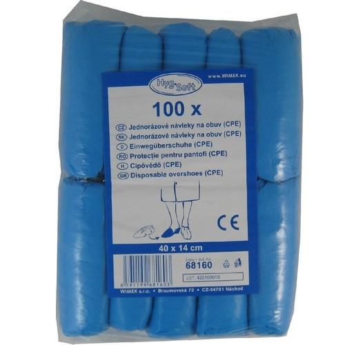 Obalový materiál drogerie - Jednorázové návleky na obuv modré CPE, 40 x 14 cm, 100ks