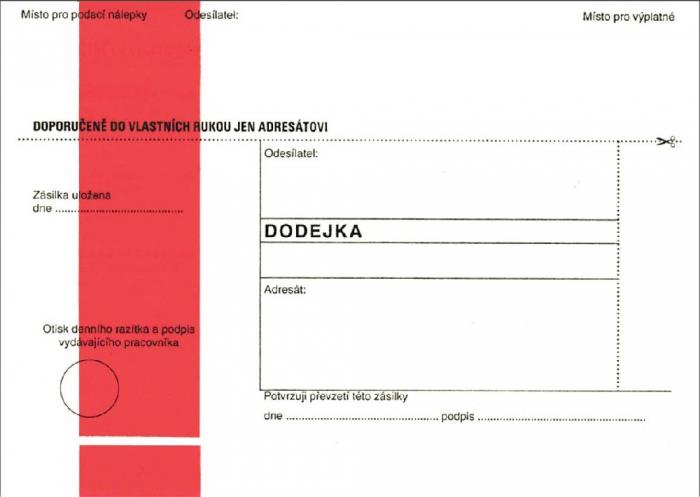 Papír tiskopisy - DODEJKA ČERVENÁ NCR B6, odtrhávací dodejkou
