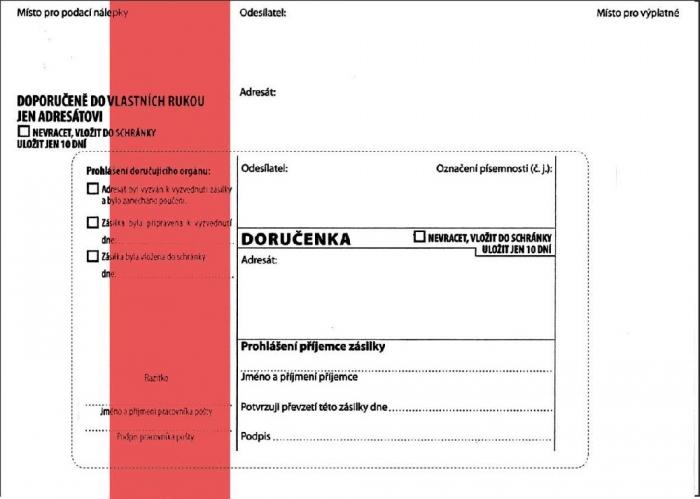 Papír tiskopisy - DORUČENKA červená B6, správní řád, vlhčicí