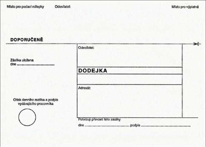 Papír tiskopisy - DODEJKA BÍLÁ NCR B6, odtrhávací dodejkou, vlhčicí