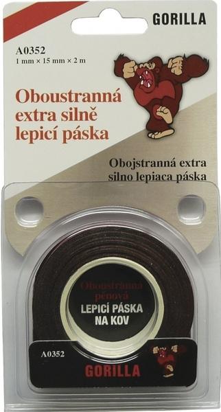 Obalový materiál drogerie - Lepící páska oboustraná 15 x 2 Gorilla pěnová silně lepící 352