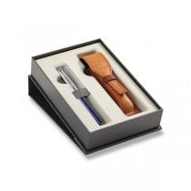 Parker Sonnet Premium Atlas Blue Silver CT plnicí pero, dárková sada s pouzdrem