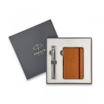 Parker IM Premium Dark Espresso CT plnicí pero, dárková kazeta se zápisníkem