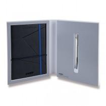 Lamy Logo Brushed Steel kuličková tužka, dárková sada se zápisníkem