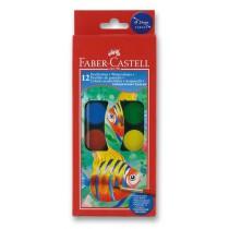 Vodové barvy Faber-Castell 12 barev, průměr 24 mm