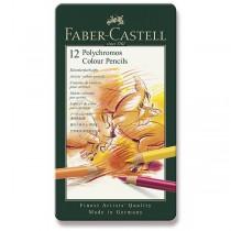 Pastelky Faber-Castell Polychromos plechová krabička, 12 barev