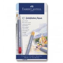 Akvarelové pastelky Faber-Castell Goldfaber Aqua plechová krabička, 12 barev
