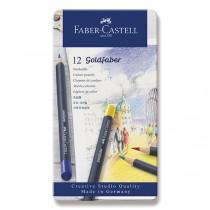 Pastelky Faber-Castell Goldfaber plechová krabička, 12 barev