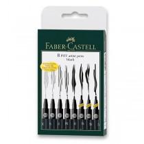 Popisovač Faber-Castell Pitt Artist Pen sada 8 ks, XS, S, F, M, B, C, SC, 1,5 mm, černé