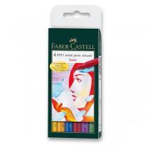 Popisovač Faber-Castell Pitt Artist Pen Brush 6 ks, základní barvy