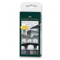 Popisovač Faber-Castell Pitt Artist Pen Brush 6 ks, odstíny šedé