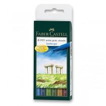 Popisovač Faber-Castell Pitt Artist Pen Brush 6 ks, přírodní odstíny