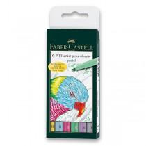Popisovač Faber-Castell Pitt Artist Pen Brush 6 ks, pastelové barvy