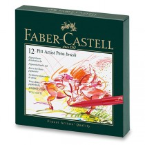 Popisovač Faber-Castell Pitt Artist Pen Brush studio box, 12 ks