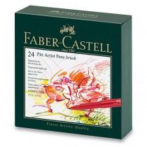 Popisovač Faber-Castell Pitt Artist Pen Brush studio box, 24 ks