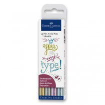 Popisovač Faber-Castell Pitt Artist Pen 4 barvy, metalické