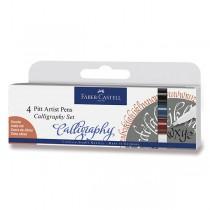 Popisovač Faber-Castell Pitt Artist Pen Calligraphy 4 kusy, tmavé barvy
