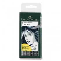 Popisovač Faber-Castell Pitt Artist Pen Soft Brush 6 kusů