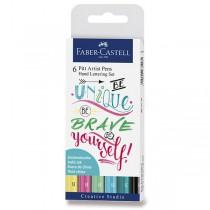 Popisovač Faber-Castell Pitt Artist Pen Hand Lettering 6 kusů, pastelová sada