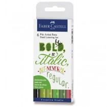 Popisovač Faber-Castell Pitt Artist Pen Hand Lettering 6 kusů, zelená sada