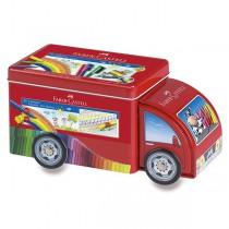 Dětské fixy Faber-Castell Connector plechové autíčko, 33 barev