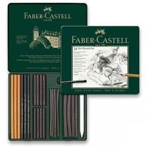 Uhel Faber-Castell Pitt Monochrome Charcoal plechová krabička, 24ks