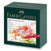 Popisovač Faber-Castell Pitt Artist Pen Brush studio box, 48 ks
