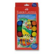 Vodové barvy Faber-Castell 21 barev, průměr 30 mm
