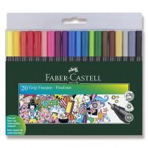 Popisovač Faber-Castell Grip 20 ks, 0.4 mm