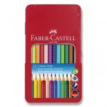 Pastelky Faber-Castell Grip 2001 plechová krabička, 12 barev