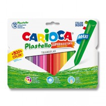 Plastové pastely Carioca Plastello Maxi 12 barev, trojhranné