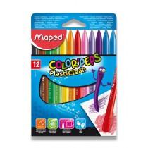 Plastové pastely Maped Color´Peps Plasticlean 12 barev, trojhranné
