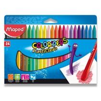 Plastové pastely Maped Color´Peps Plasticlean 24 barev, trojhranné