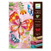 Malování barevným pískem Djeco - Třpytiví motýlci