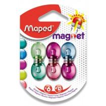 Silné magnety Maped - průměr 13 mm mix barev, 6 ks