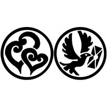 Oboustranné pečetidlo Aladine - Srdce/ holubice