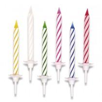 Dortové svíčky pruhované 24 ks + 12 stojánků