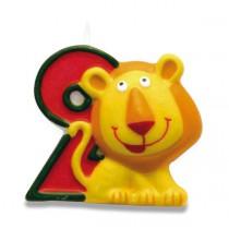 """Dortová číslová svíčka """"2"""", lev"""