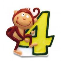 """Dortová číslová svíčka """"4"""", opice"""