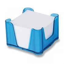 Zásobník Office s papírem modrý, transparentní