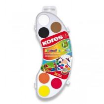 Vodové barvy Kores Akuarellas 12 barev, průměr 25 mm