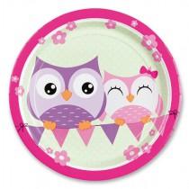 Papírové talířky Happy Owl průměr 23 cm, 8 ks