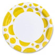 Papírové talířky Solid Color Dots žluté
