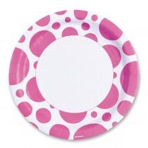 Papírové talířky Solid Color Dots růžové