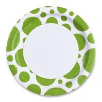 Papírové talířky Solid Color Dots zelené