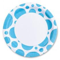 Papírové talířky Solid Color Dots modré
